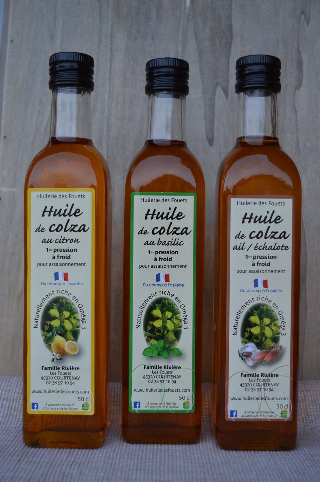 Huile colza citron basilic ail echalote premiere pression froid 50cl huilerie des fouets
