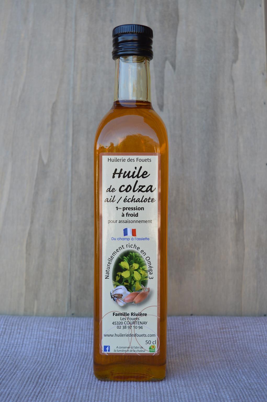 Huile colza ail echalote premiere pression froid 50cl huilerie des fouets copy