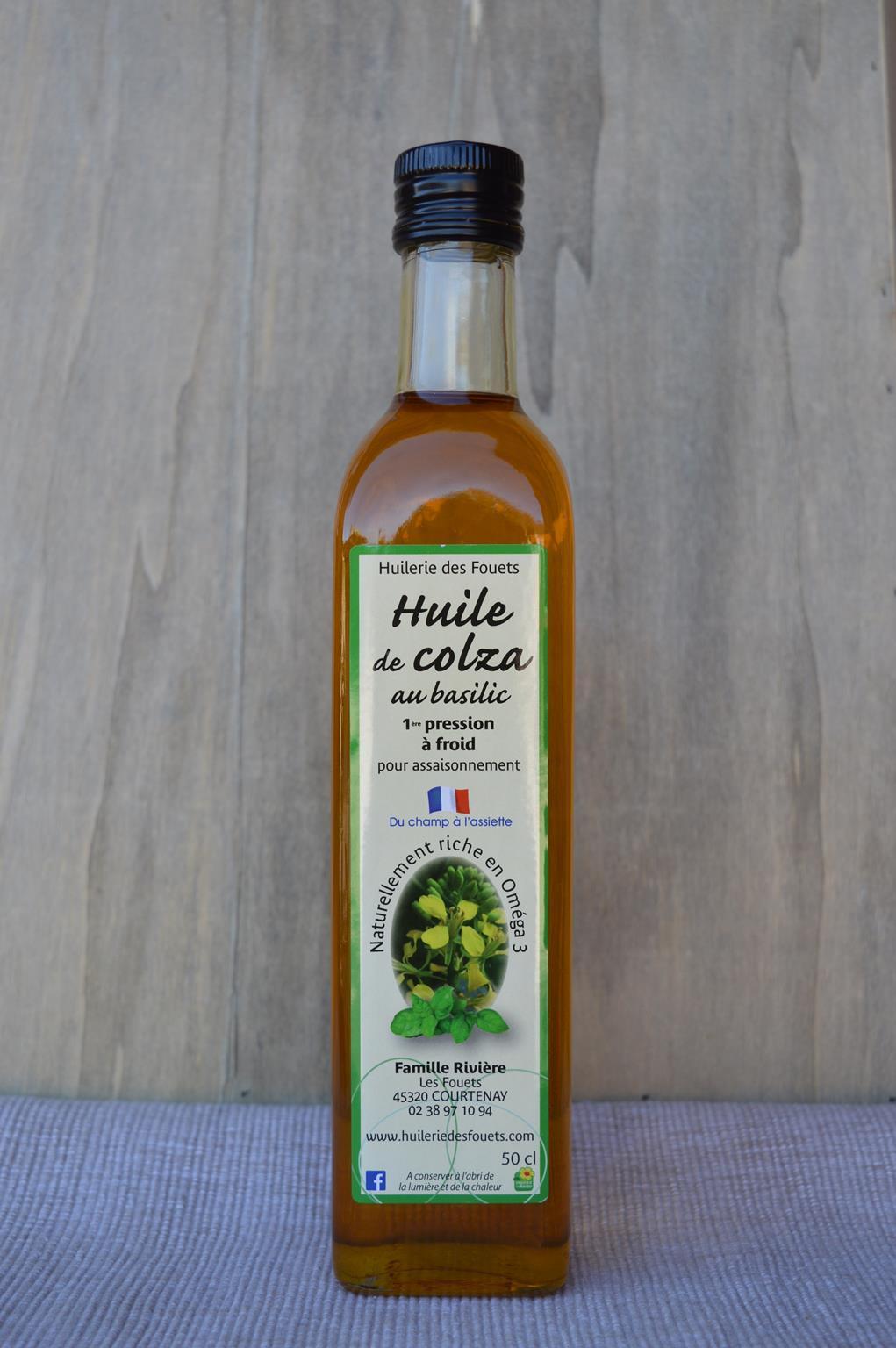 Huile colza basilic premiere pression froid 50cl huilerie des fouets copy