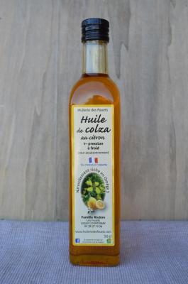 Huile colza citron premiere pression froid 50cl huilerie des fouets copy
